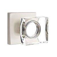 Emtek Hardware - Crystal Door Hardware - Modern Square Crystal Privacy Door Knob with Square Rose in Oil Rubbed Bronze
