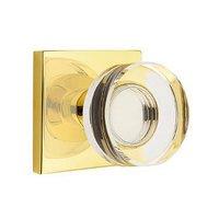 Emtek Hardware - Crystal Door Hardware - Modern Disc Crystal Privacy Door Knob with Square Rose in Oil Rubbed Bronze