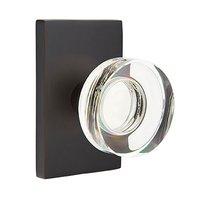 Emtek Hardware - Crystal Door Hardware - Single Dummy Modern Disc Crystal Door Knob with Modern Rectangular Rose in Oil Rubbed Bronze