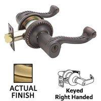 Emtek Hardware - Keyed Knobs and Levers Hardware - Keyed Left Handed Rope Lever With Rope Rose in Oil Rubbed Bronze