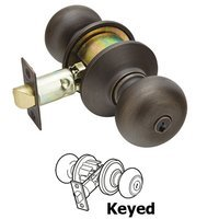 Emtek Hardware - Keyed Knobs and Levers Hardware - Keyed Winchester Knob With #2 Rose in Flat Black Bronze