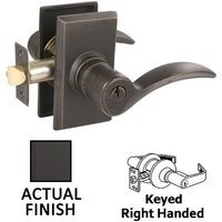 Emtek Hardware - Keyed Knobs and Levers Hardware - Keyed Left Handed Durango Lever With #3 Rose in Flat Black Bronze
