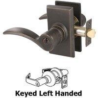 Emtek Hardware - Keyed Knobs and Levers Hardware - Keyed Left Handed Durango Lever With #3 Rose in Flat Black Bronze
