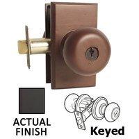 Emtek Hardware - Keyed Knobs and Levers Hardware - Keyed Winchester Knob With #3 Rose in Flat Black Bronze