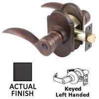 Emtek Hardware - Keyed Knobs and Levers Hardware - Keyed Left Handed Durango Lever With #1 Rose in Flat Black Bronze