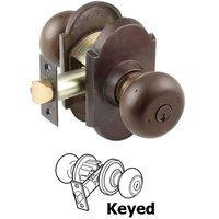 Emtek Hardware - Keyed Knobs and Levers Hardware - Keyed Winchester Knob With #1 Rose in Flat Black Bronze