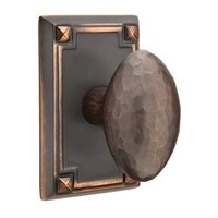 Emtek Hardware - Arts & Crafts Door Hardware - Passage Hammered Egg Door Knob with Arts & Crafts Rectangular Rose in Flat Black And Concealed Screws