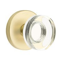 Emtek Hardware - Crystal Door Hardware - Modern Disc Crystal Privacy Door Knob with Disk Rose in Oil Rubbed Bronze