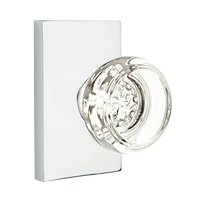 Emtek Hardware - Crystal Door Hardware - Georgetown Double Dummy Door Knob with Modern Rectangular Rose in Flat Black