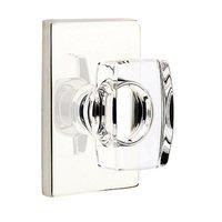 Emtek Hardware - Crystal Door Hardware - Windsor Passage Door Knob with Modern Rectangular Rose in Oil Rubbed Bronze