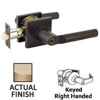 Emtek Hardware - Keyed Knobs and Levers Hardware - Keyed Left Handed Hanover Lever With Square Rose in Satin Brass