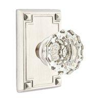 Emtek Hardware - Crystal Door Hardware - Astoria Double Dummy Door Knob with Arts & Crafts Rectangular Rose in Flat Black