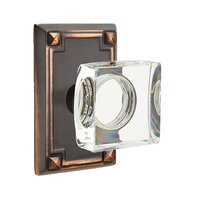Emtek Hardware - Crystal Door Hardware - Modern Square Crystal Privacy Door Knob with Arts & Crafts Rectangular Rose in Oil Rubbed Bronze