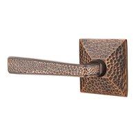 Emtek Hardware - Arts & Crafts Door Hardware - Left Handed Privacy Hammered Door Lever with Hammered Rose in Oil Rubbed Bronze