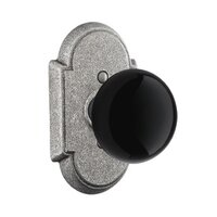 Emtek Hardware - Wrought Steel Door Hardware - Double Dummy Madison Black Knob With #1 Rosette in Flat Black Steel