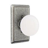 Emtek Hardware - Wrought Steel Door Hardware - Privacy Madison Ivory Knob With #3 Rose in Flat Black Steel