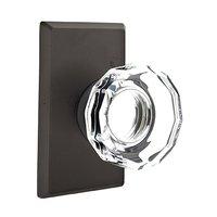 Emtek Hardware - Crystal Door Hardware - Single Dummy Lowell Door Knob with #3 Rose in Flat Black Bronze