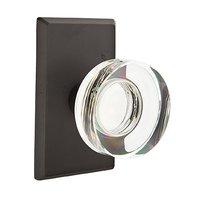 Emtek Hardware - Crystal Door Hardware - Single Dummy Modern Disc Crystal Door Knob with #3 Rose in Flat Black Bronze