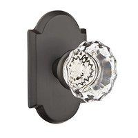 Emtek Hardware - Crystal Door Hardware - Single Dummy Astoria Door Knob with #1 Rose in Flat Black Bronze
