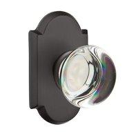Emtek Hardware - Crystal Door Hardware - Single Dummy Providence Door Knob with #1 Rose in Flat Black Bronze