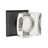 Emtek Hardware - Crystal Door Hardware - Single Dummy Modern Square Crystal Door Knob with #6 Rose in Flat Black Bronze