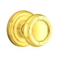Emtek Hardware - Brass Designer Knobs - Privacy Ribbon & Reed Knob With Regular Rose in Polished Brass