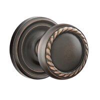 Emtek Hardware - Brass Designer Knobs - Privacy Rope Knob With Regular Rose in Oil Rubbed Bronze