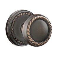 Emtek Hardware - Brass Designer Knobs - Privacy Rope Knob With Rope Rose in Oil Rubbed Bronze