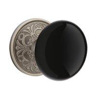 Emtek Hardware - Porcelain Door Hardware - Privacy Ebony Knob With Lancaster Rose in Oil Rubbed Bronze