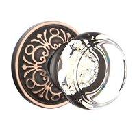 Emtek Hardware - Crystal Door Hardware - Georgetown Privacy Door Knob with Lancaster Rose in Oil Rubbed Bronze