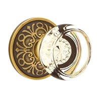Emtek Hardware - Crystal Door Hardware - Georgetown Privacy Door Knob with Lancaster Rose and Concealed Screws in Oil Rubbed Bronze