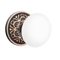Emtek Hardware - Porcelain Door Hardware - Privacy Ice White Knob With Lancaster Rosette in Oil Rubbed Bronze