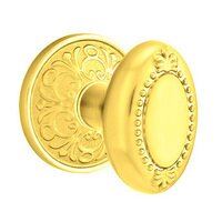 Emtek Hardware - Brass Designer Knobs - Privacy Beaded Egg Knob With Lancaster Rose in Polished Brass