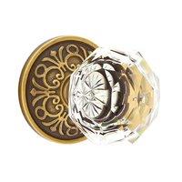 Emtek Hardware - Crystal Door Hardware - Diamond Privacy Door Knob with Lancaster Rose and Concealed Screws in Oil Rubbed Bronze
