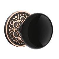Emtek Hardware - Porcelain Door Hardware - Privacy Ebony Knob With Lancaster Rosette in Oil Rubbed Bronze