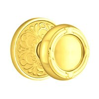 Emtek Hardware - Brass Designer Knobs - Privacy Ribbon & Reed Knob With Lancaster Rose in Polished Brass