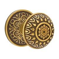 Emtek Hardware - Brass Designer Knobs - Passage Lancaster Knob With Lancaster Rose in Polished Brass