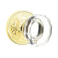 Emtek Hardware - Crystal Door Hardware - Lowell Double Dummy Door Knob with Lancaster Rose in French Antique Brass