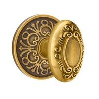 Emtek Hardware - Brass Designer Knobs - Privacy Victoria Knob With Lancaster Rose in Polished Brass