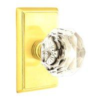 Emtek Hardware - Crystal Door Hardware - Diamond Privacy Door Knob with Rectangular Rose in Polished Nickel