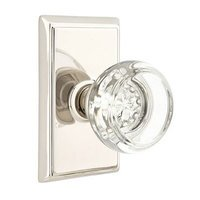 Emtek Hardware - Crystal Door Hardware - Georgetown Privacy Door Knob with Rectangular Rose in Polished Nickel