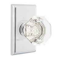 Emtek Hardware - Crystal Door Hardware - Old Town Privacy Door Knob with Rectangular Rose in Polished Nickel