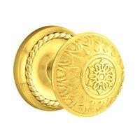 Emtek Hardware - Brass Designer Knobs - Privacy Lancaster Knob With Rope Rose in Polished Brass