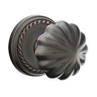Emtek Hardware - Brass Classic Hardware - Privacy Melon Door Knob With Rope Rosein Oil Rubbed Bronze
