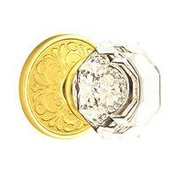 Emtek Hardware - Crystal Door Hardware - Old Town Privacy Door Knob with Lancaster Rose in Oil Rubbed Bronze