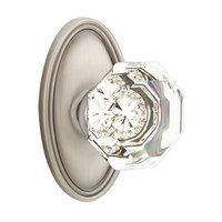 Emtek Hardware - Crystal Door Hardware - Old Town Privacy Door Knob with Oval Rose in Oil Rubbed Bronze