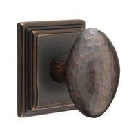 Emtek Hardware - Arts & Crafts Door Hardware - Privacy Hammered Egg Door Knob with Wilshire Rose in Flat Black And Concealed Screws