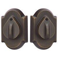 Emtek Hardware - Sandcast Bronze Deadbolts - #1 Plate and Flap Single Cylinder Deadbolt in Flat Black Bronze