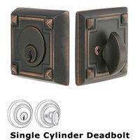 Emtek Hardware - Solid Brass Deadbolts - Arts and Crafts Single Cylinder Deadbolt in Oil Rubbed Bronze