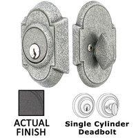 Emtek Hardware - Wrought Steel - Wrought Steel #1 Single Cylinder Deadbolt in Flat Black Steel